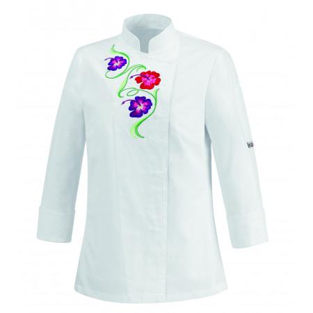 Dámsky kuchársky rondon FLOWERS - biely