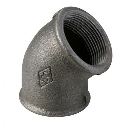 """HD Čierny fiting - Koleno 45° 120 F/F 1.1/2"""", 12001007"""