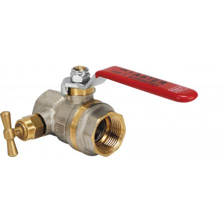 """ASTER 2378R405 Guľový ventil na vodu s odvodnením F/F 3/4"""", DN 20, oceľová páka"""