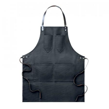 Kuchařská zástěra ke krku černá - kožené popruhy