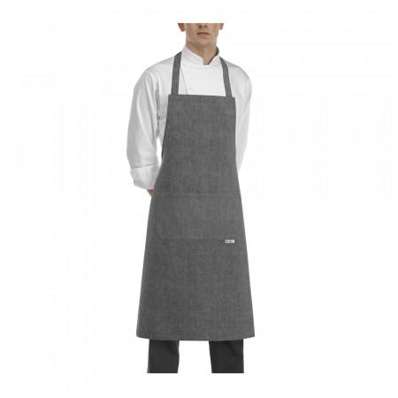 Kuchařská zástěra ke krku s kapsou - Grey mix