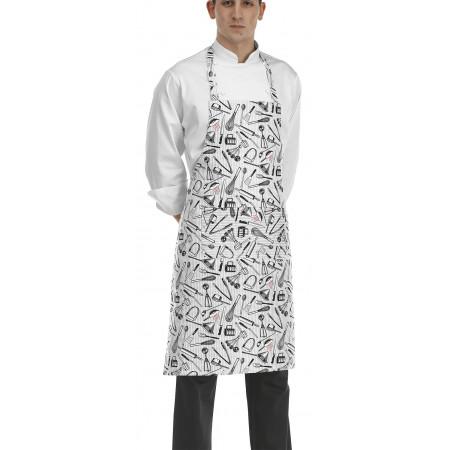 Kuchařská zástěra ke krku s kapsou - vzor gastro nářadí