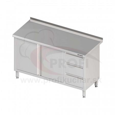 Pracovný stôl so zásuvkami - 2x otváracie dvere 1800x600x850mm