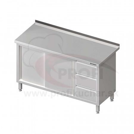 Pracovný stôl so zásuvkami -posuvné dvere 1600x600x850mm