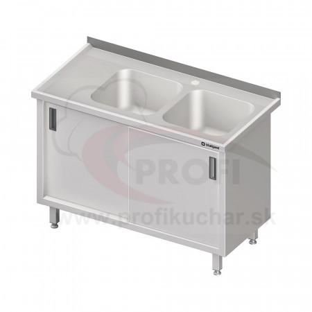 Umývací stôl krytovaný s drezmi 400x400mm - posuvné dvere 1300x600x850mm