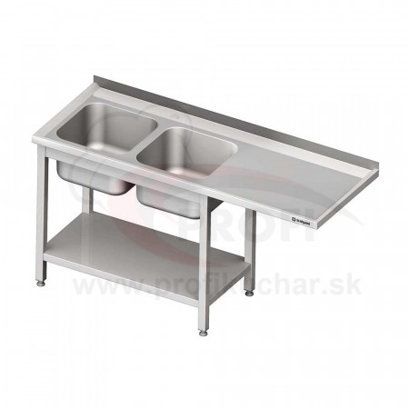 Umývací stôl s priestorom pre podstolovú umývačku, dvojdrez – PRAVÝ 2200mm