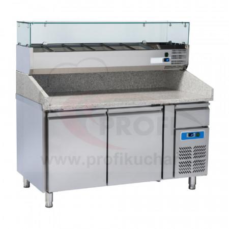 Dvojdverový pizza-stôl s chladiacou vitrínou COOLHEAD®