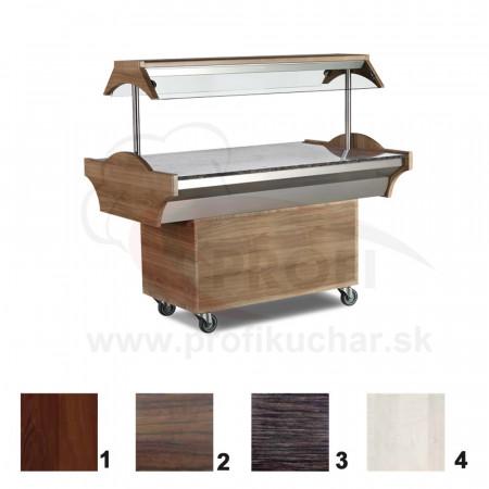 Neutrálný bufetový stol – 3 GN – mahagon