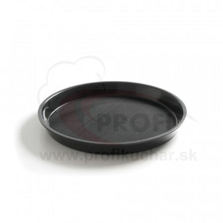 Servírovací podnos okrúhly s okrajom - pr.: 36 cm - čierny