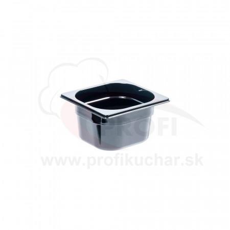 GN nádoba 1/6-100mm, čierný polykarbonát