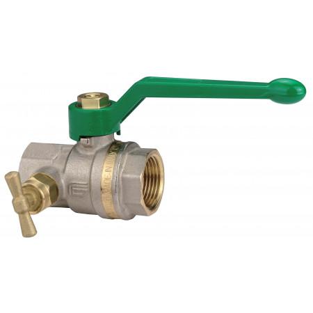 """ASTER 2374V404NF Guľový ventil GREEN na pitnú vodu s odvodnením F/F 1/2"""", DN 15, Al páka"""