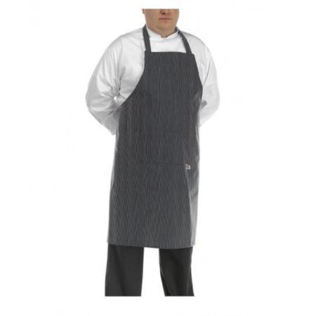 Kuchařská zástěra ke krku BIG BOY - SIR jemné bílé pásy - velikost od 5XL - 7XL