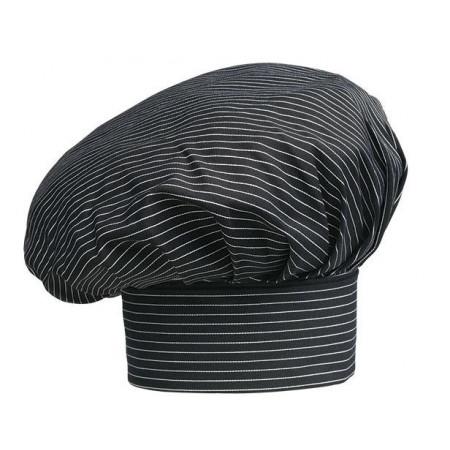 Vysoká kuchárska čiapka - jemné biele pásy