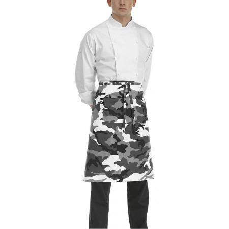 Kuchařská zástěra nízká s kapsou - vzor maskáče