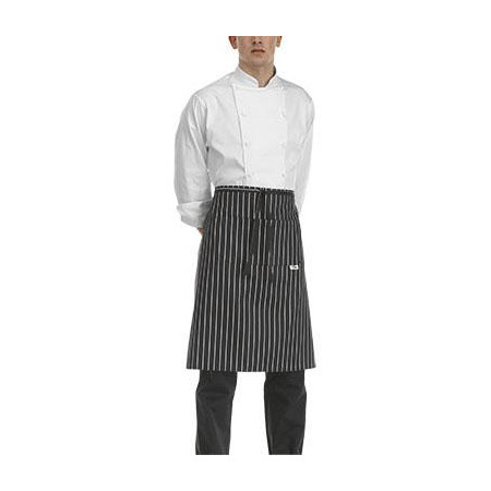 Kuchařská zástěra nízká s kapsou - široké bílé pásy