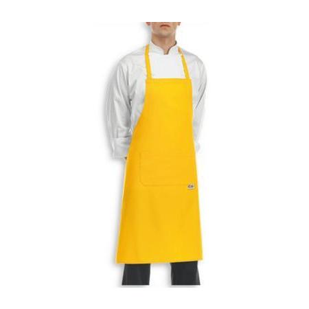 Žlutá kuchařská zástěra ke krku s kapsou