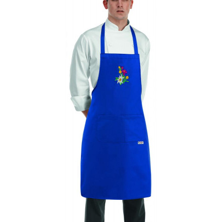 Kuchařská zástěra ke krku s kapsou modrá TIROL