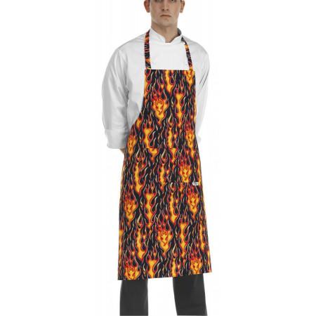 Kuchařská zástěra ke krku s kapsou - vzor plameny