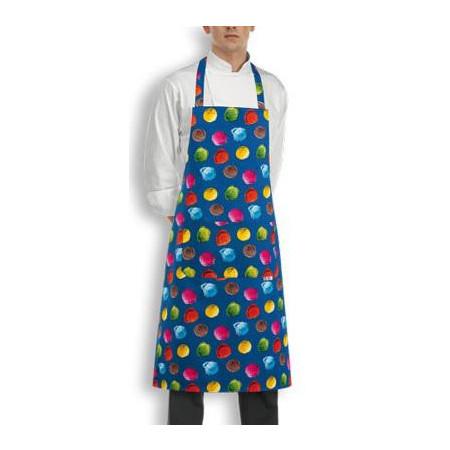 Kuchárska zástera ku krku s vreckom - vzor zmrzlina
