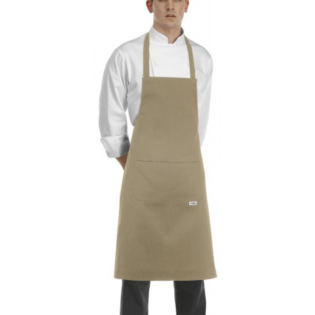 Béžová kuchárska zástera ku krku s vreckom