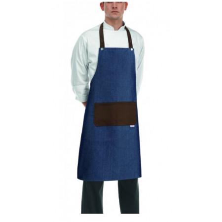 Kuchařská zástěra ke krku s kapsou - Rock- Jeans Brown