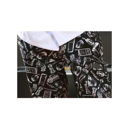 Kuchařské kalhoty 100% bavlna - motiv gastro