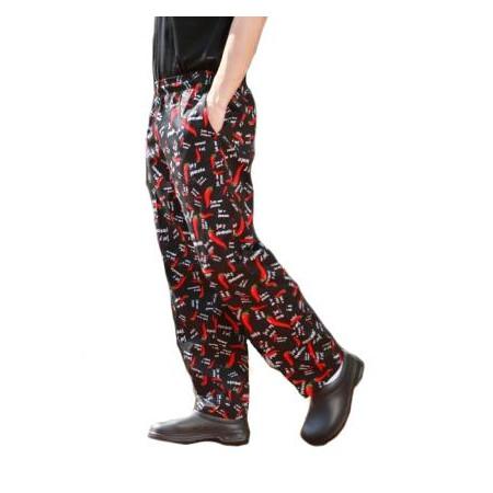 Kuchařské kalhoty 100% bavlna - motiv paprika