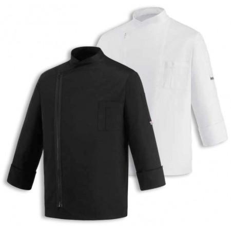 Kuchařský rondon ZIP (zapínání na zip) - černý / bílý