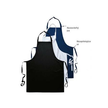 Kuchárska zástera ku krku s prackou - čierna