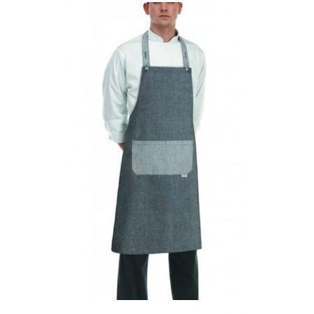 Kuchařská zástěra ke krku s kapsou - Rock- Grey mix