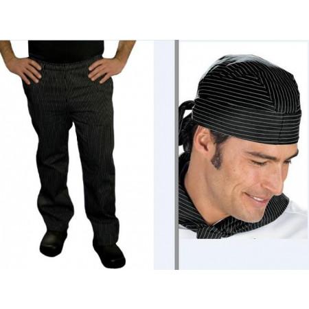 SET: Nohavice a šatka na hlavu - jemné biele pásy