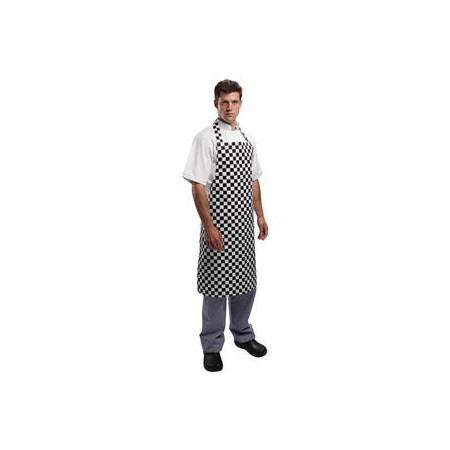 Kuchařská zástěra ke krku - černobílá šachovnice