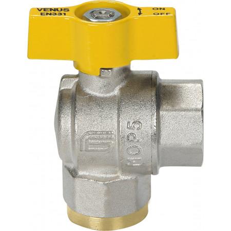 "VENUS 1071G206 Guľový rohový ventil na plyn F/F 1"", DN 15, T-páka"