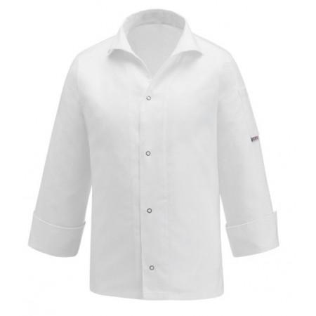 Kuchařský rondon VIP s košilovým střihem UNISEX - bílý