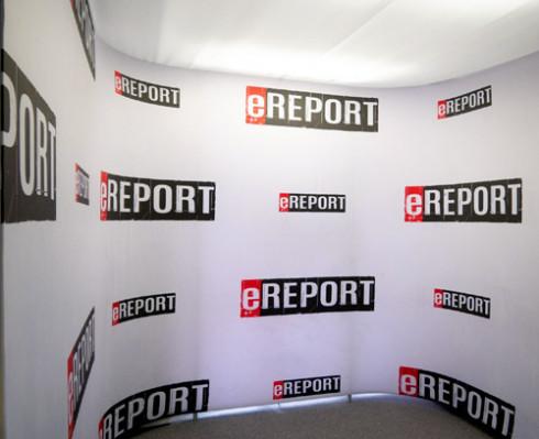 Mediálna a CGI textilná stena pre štúdio ereport.sk