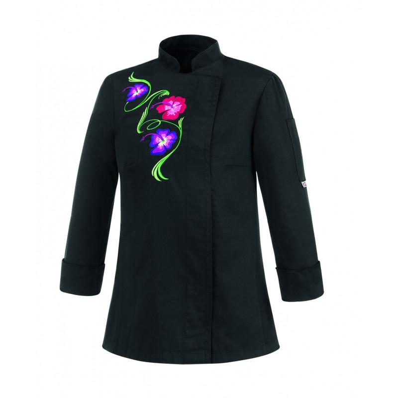 Dámsky kuchársky rondon FLOWERS - čierny