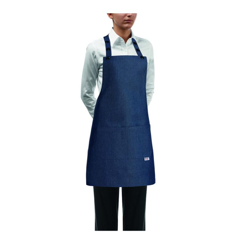 Kuchařská zástěra ke krku s kapsou DÁMSKA- Jeans