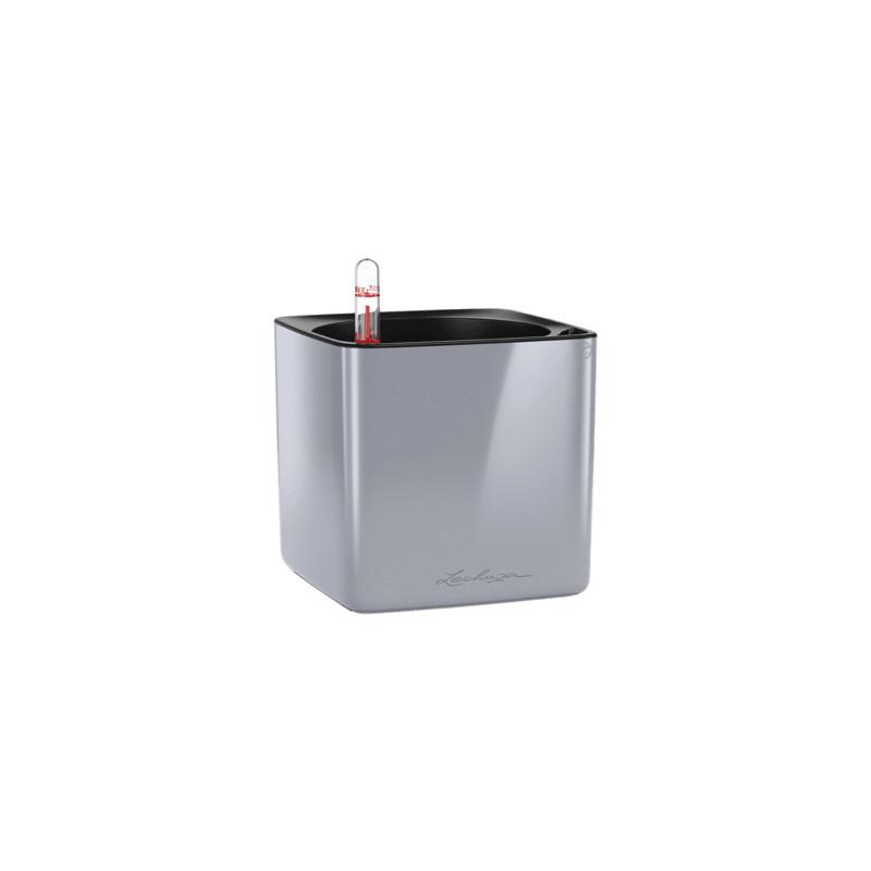 Lechuza Cube Glossy 14 All inclusive set titanium dust highgloss 14x14x14 cm