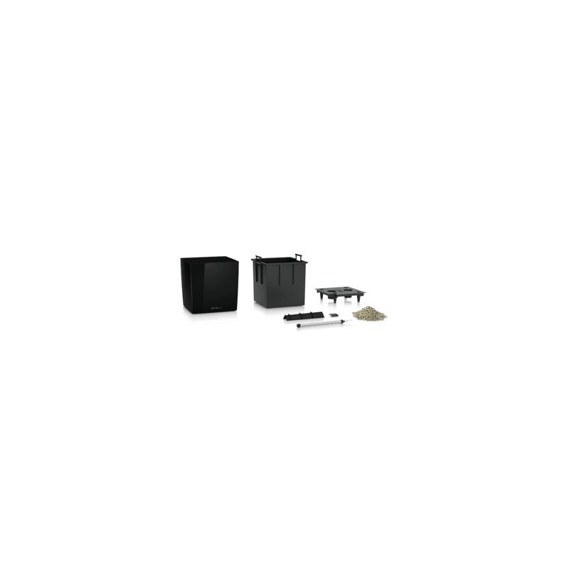 Lechuza Cube Premium All inclusive set black high-gloss 30x30x30cm