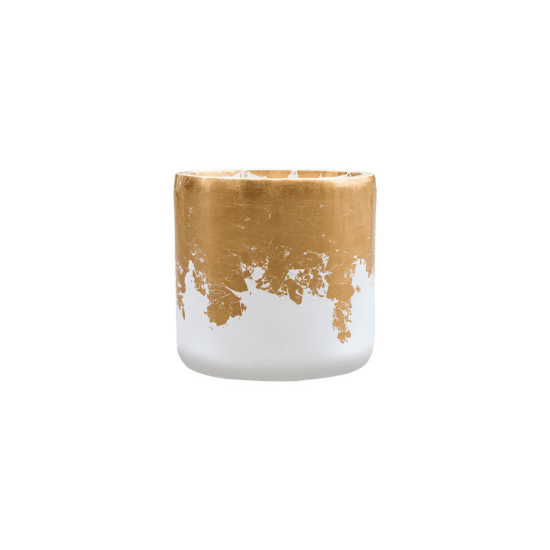 Luxe lite glossy cylinder white - gold 33x31 cm