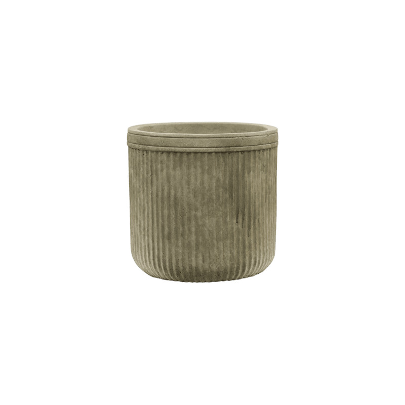 Vertical Rib Cylinder Green 23x24 cm