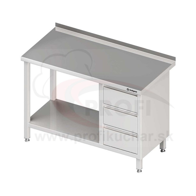 Pracovný stôl so zásuvkami - s policou 1300x600x850mm