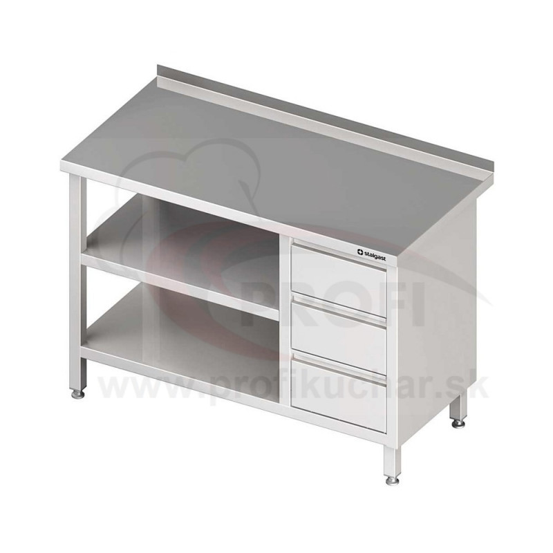 Pracovný stôl so zásuvkami - s dvomi policami 800x600x850mm