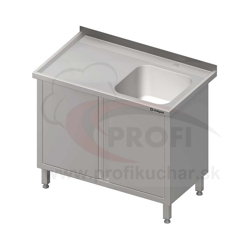Umývací stôl krytovaný s drezom - krídlové dvere 1300x600x850mm