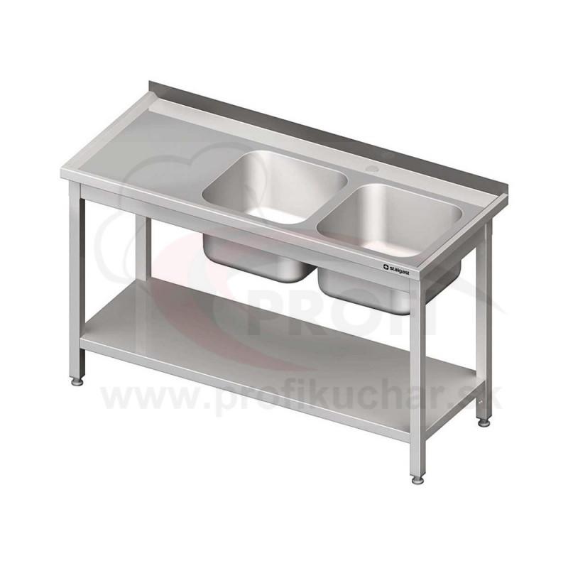 Umývací stôl s dvojdrezom - s policou 1200x700x850mm