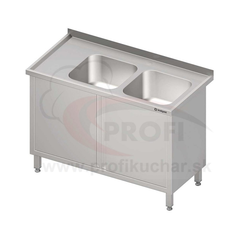 Umývací stôl krytovaný s dvojdrezom - krídlové dvere 1300x600x850mm