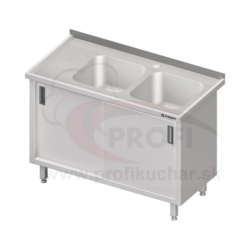 Umývací stôl krytovaný s dvojdrezom - krídlové dvere 1300x700x850mm