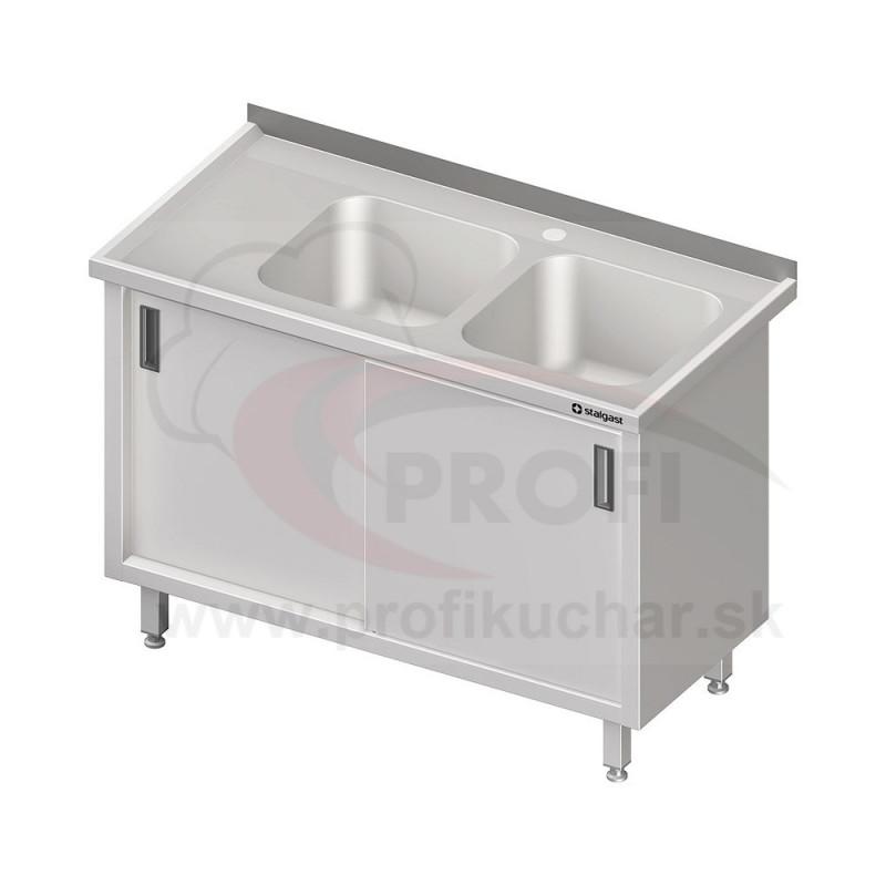 Umývací stôl krytovaný s drezmi 400x400mm - posuvné dvere 1200x600x850mm
