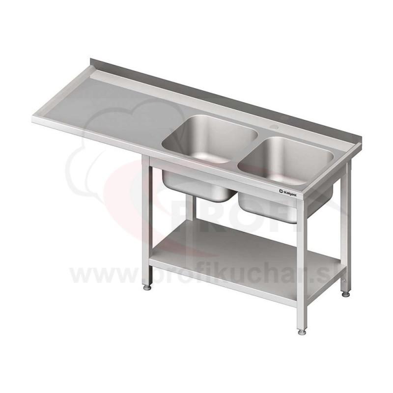 Umývací stôl s priestorom pre podstolovú umývačku, dvojdrez – ĽAVÝ 2000mm