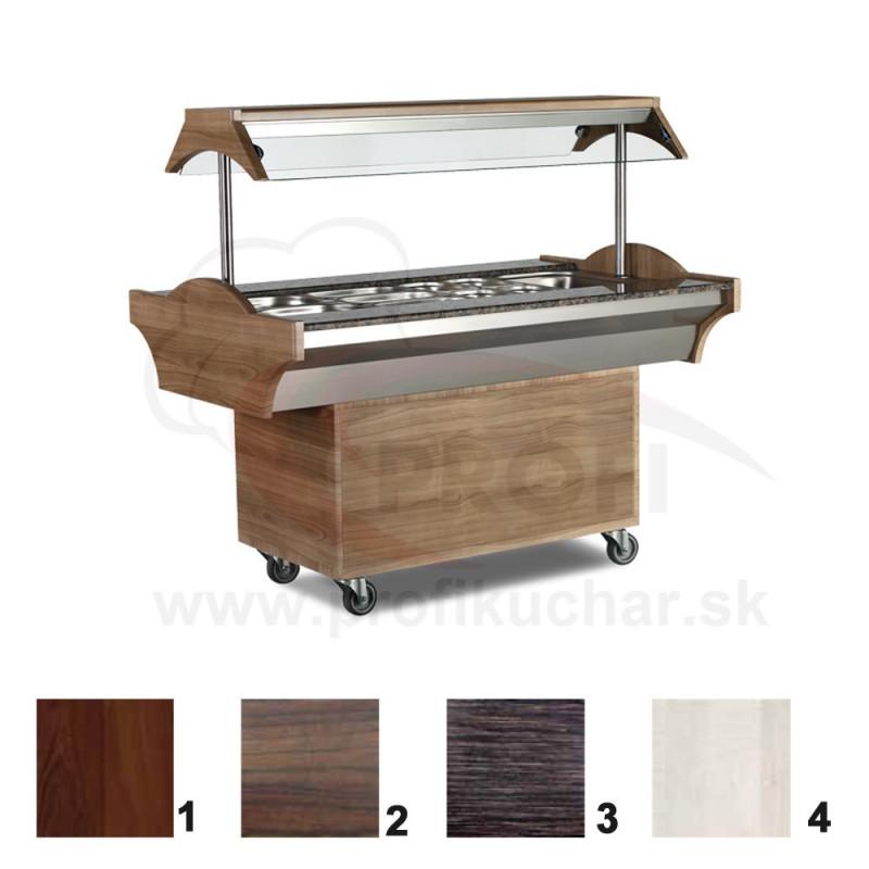 Ohrevný bufetový stol – 6 GN – mahagon